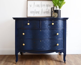 Charmant SOLD Navy Blue Dresser Gold Knobs   Antique Furniture   Serpentine   Coffee  Bar   Buffet   Farmhouse French Country   Painted Furniture