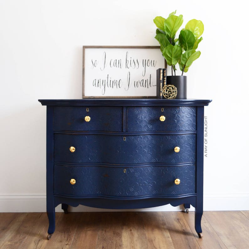 . SOLD OUT Navy Blue Dresser Gold Knobs   Antique Dresser   Serpentine    Coffee Bar   Buffet   Farmhouse French Country   Painted Furniture