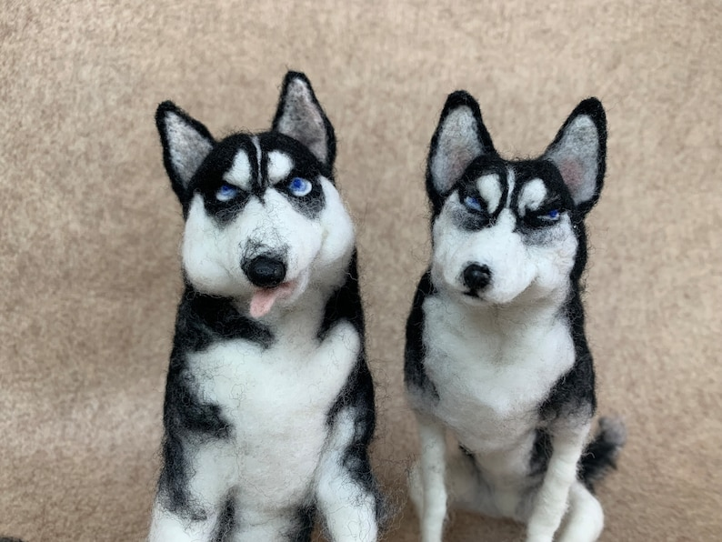 husky dog wool realistic doll 3D portrait material suply pack wool needle felted pet sculpture customized for memorial gift  made to order