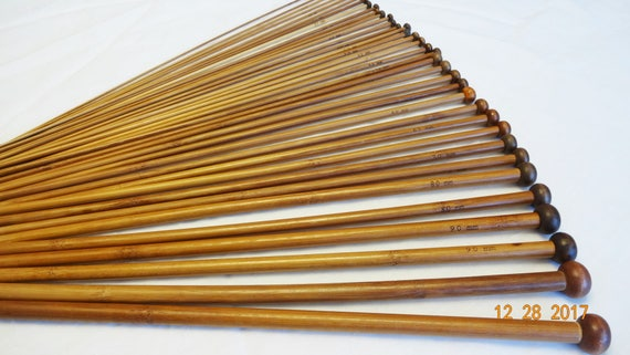 10mm 25cm length One set of single pointed bamboo knitting needles choose 2mm