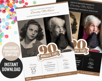 90th birthday invitation powerpoint template for a create it yourself invite or evite instant download