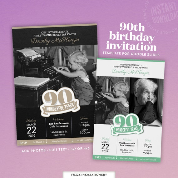 90th Birthday Invitation Template For Google Slides Available In 4x6 Or 5x7