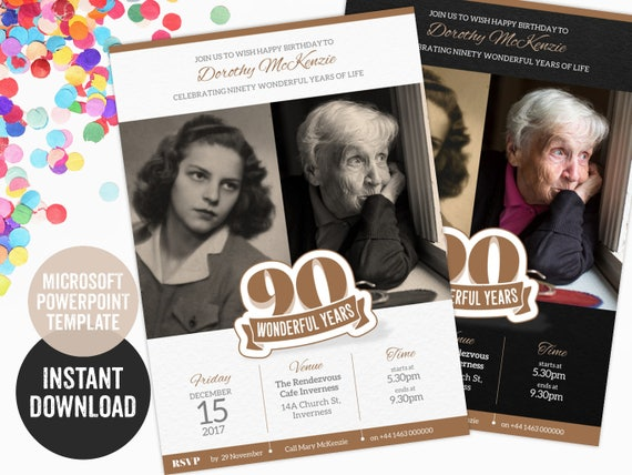 90th Birthday Invitation PowerPoint Template For A
