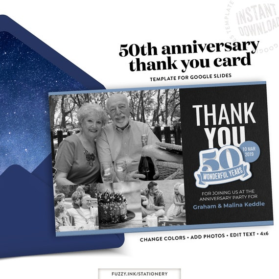 50th Birthday Or Anniversary Thank You Card Template For