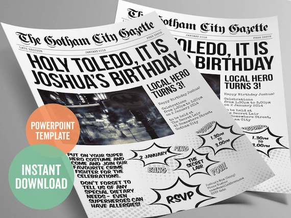 Batman inspired superhero newspaper invitation template for