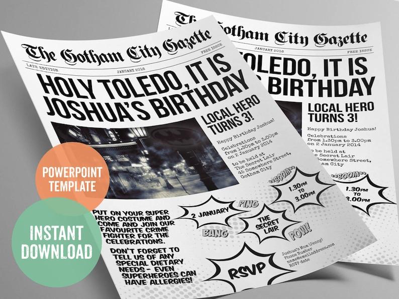 Batman Inspired Superhero Newspaper Invitation Template For Etsy