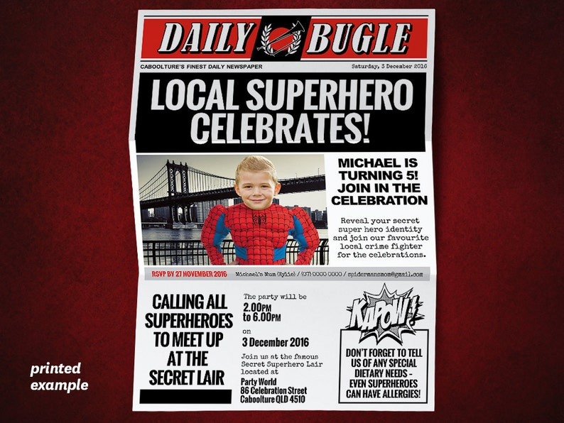 Diy Superhero Newspaper Invitation Template For A Spiderman Etsy