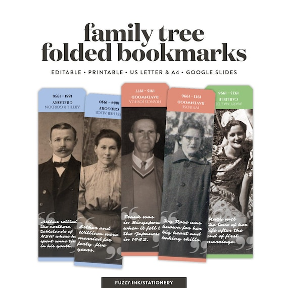 Creative Family Tree Bookmarks Template For Google Slides Etsy