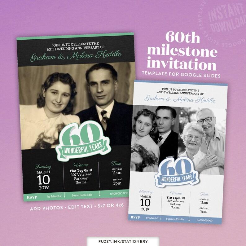 60th Wedding Or Birthday Anniversary Invitation Template For Google Slides