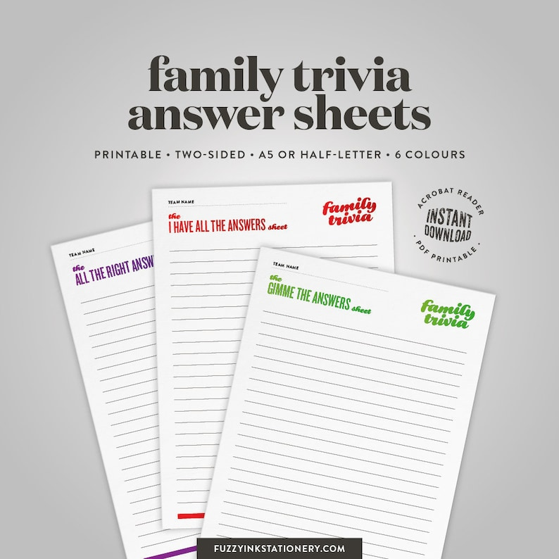 graphic regarding Printable Answer Sheet identified as Household trivia solutions sheet printable for family members reunion get together game titles, deliver your genealogy video game, instantaneous down load