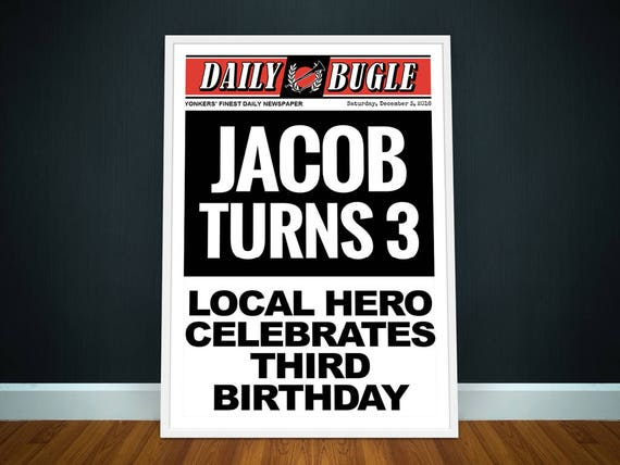 superhero newspaper invitation party banner poster party etsy