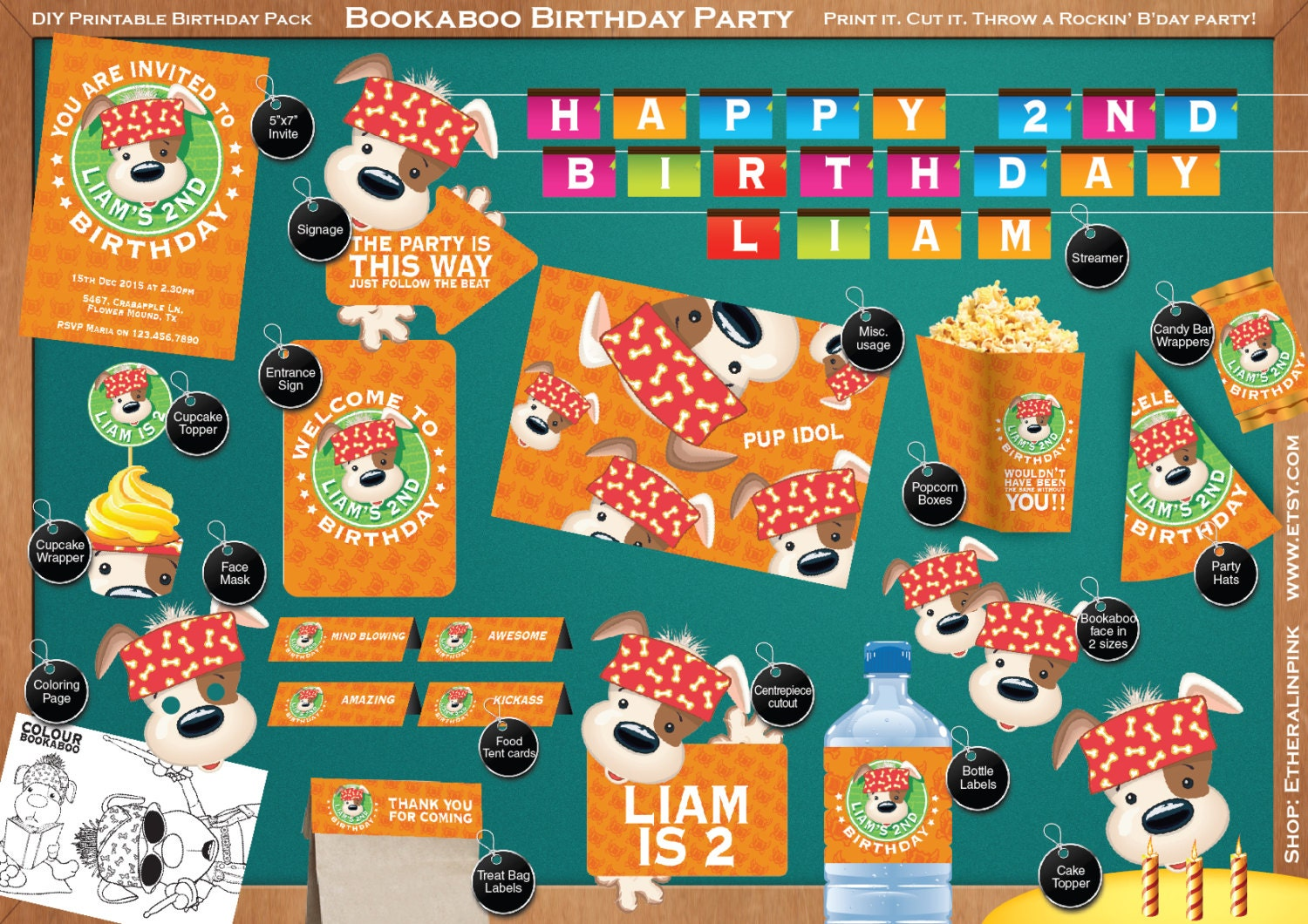Bookaboo Personalized Printable Birthday Party Pack Diy Etsy