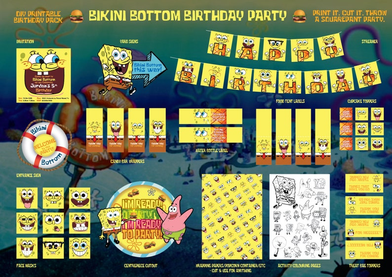 Spongebob Squarepants Printable Birthday Party Pack DIY