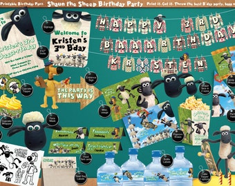 Shaun the Sheep - Printable Birthday Party Pack - DIY - including Invitation, labels, streamer, signage, face mask and much more