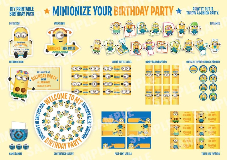 photograph regarding Minion Printable Cutouts identify Minions - Despicable Me - Printable Birthday Get together Pack - Do it yourself - which include Invitation, streamer, back garden signal, foodstuff tent labels and substantially a lot more
