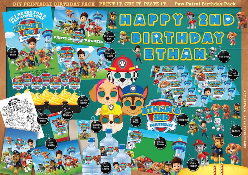Paw Patrol Printable Birthday Party Pack DIY Print Cut