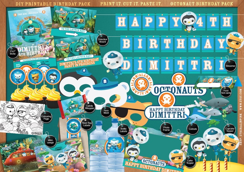 picture regarding Octonauts Printable identify Octonauts - Printable Birthday Bash Pack - Do-it-yourself - Print. Minimize. Create. together with Invitation, labels, streamer, signage, cutouts and a great deal even more