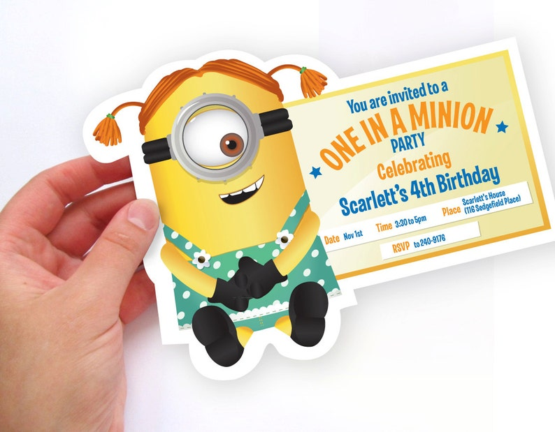 photo about You Re One in a Minion Printable known as Lady Minion - Despicable Me - Printable Birthday Get together Invitation - Do-it-yourself