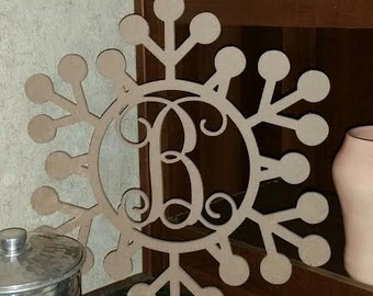 Wooden Monogrammed Whimsical Snowflake Christmas Wall Hanging
