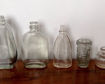 Vintage Clear Glass Bottles.Five Decorative Glass Bottles. Early 20th Century.