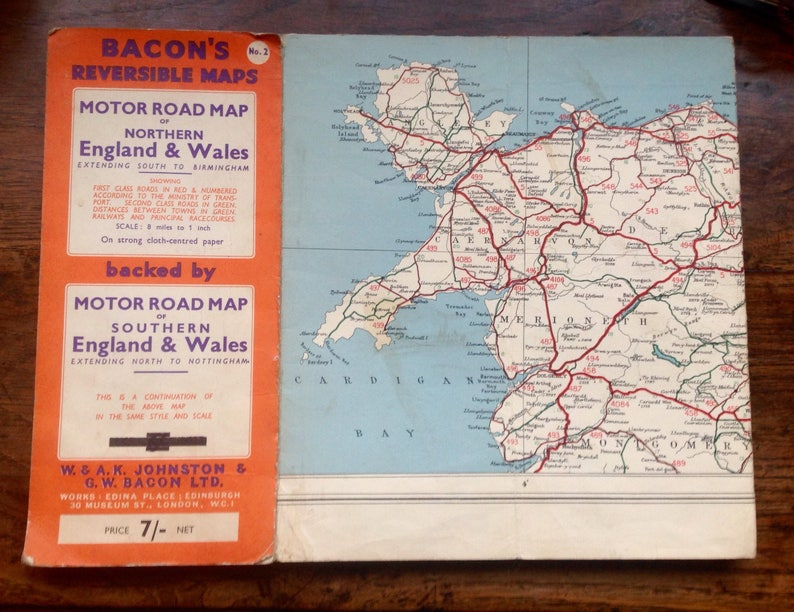 Driving Map Of England And Wales.Bacon S Reversible Map Of England Wales 1950 S
