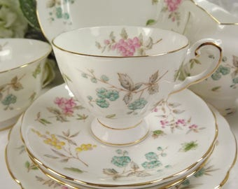 Tuscan Teacup, Saucer , Plate , Pastel Florals, Vintage