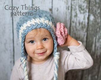 Download crochet pattern  021 - Chunky Earflap hat with rose - Toddler 882d795a93e