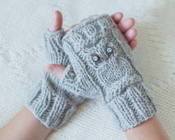 Download Knitting Pattern 037 Owl Fingerless Gloves Owl Knit Fingerless Mittens Owl Gloves Pdf Tutorial
