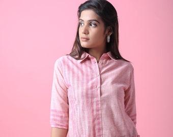 02a7a9f857a6ac Pink Slub Blouse Pink Shirt Pink Linen Dress Linen Tunic Front Open Button  Blouse Frill Flare Women Blouse collar Stripe Women Blouse