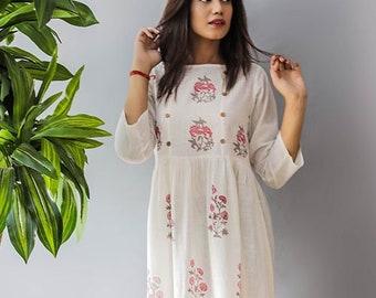 488ff13a38d4b Maxi Dress Cotton Floral Dress Button Style Boho Hippie Dress Urban Gypsy  Day Dress Linen Long Carrie Indian Dress Maxi Dress Hand Printed