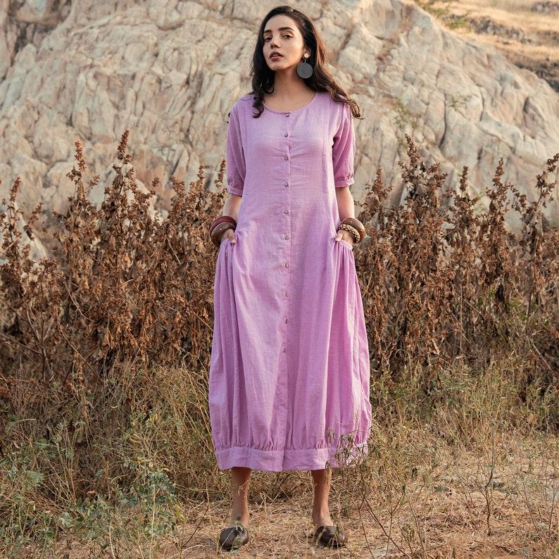 b1f3a575cd Lavender Cotton Long Maxi Dress Indian Dress Boho Dress | Etsy