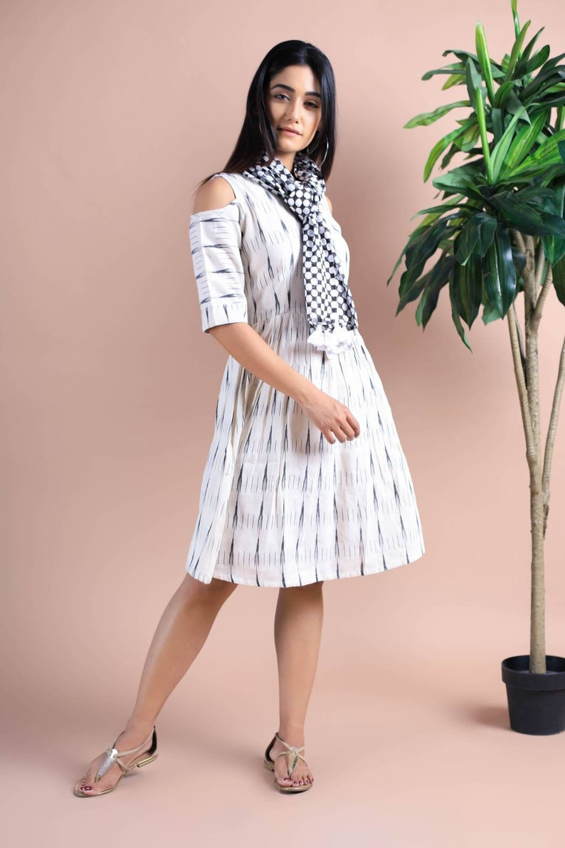 62818e7610 Ikat Dress With Hand Block Printed Scarf Hand Woven Ikat Scarf