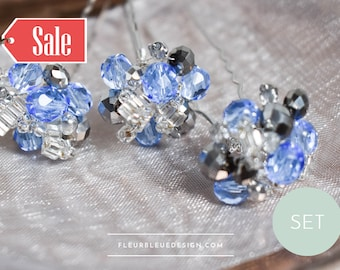 Blue hairpin set of glass beads, 3 pieces