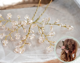 wedding hair pin with pink glass beads