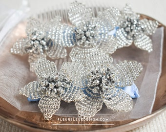 Flowers hair comb made of glass beads for updo hairstyle
