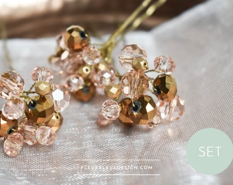 Bridal hair pin set with glass beads in pink, bronze & gold, 3 pieces