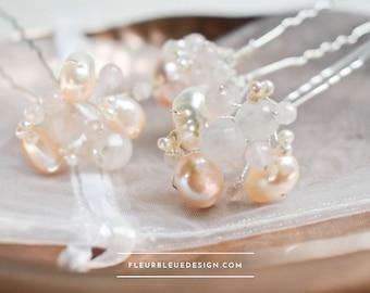Bridal hair pin with rose quartz and real pearls
