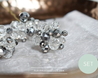 Hairpin set in crystal & silver for wedding, 3 pieces