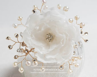 extravagant flower hair ornament with peony in ivory