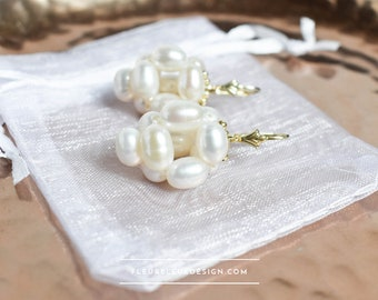 gold bridal earrings with freshwater pearls for romantic bride