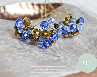 Hairpin set in blue & gold for wedding, 3 pieces