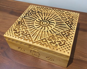 Bamboo Stash Box with grinder