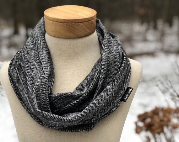 Herringbone Infinity Scarf, Soft Luxe Black and White Circle Scarf
