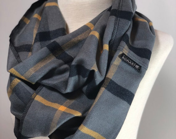 Plaid Infinity Scarf featuring Gray, Black, and Yellow Plaid Pattern, Luxuriously Soft, Loop/Circle Scarf