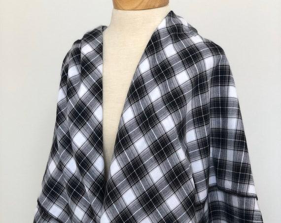 Plaid Blanket Scarf, Black and White Plaid, Shawl, Triangle Scarf
