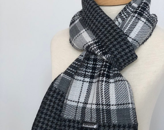 Plaid Traditional Scarf, Dual Sided Black, Winter White, and Gray Plaid Reversible to Black and Gray Houndstooth, Unisex Scarf