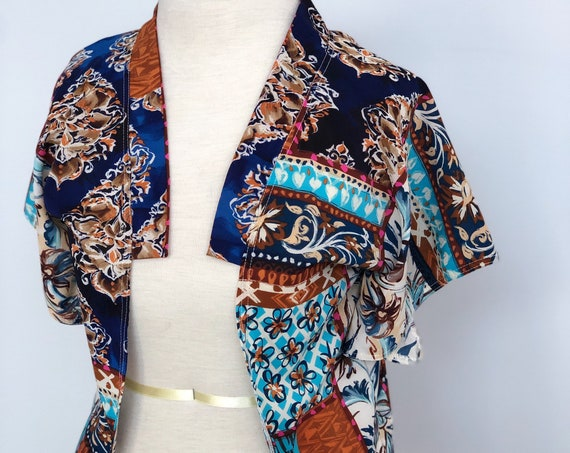 Boho Chic Batwing Cardigan, Blue Floral Patchwork Semi-Sheer Stretch Chiffon, Structured Collar, No-Close Front, Triangle Sleeve