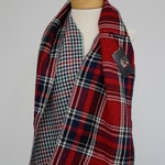 Plaid Infinity Scarf, Dual Sided Red, Black, Cream, and Navy Plaid Reversible to Cream, Navy, Red, and Green Houndstooth, Circle Scarf