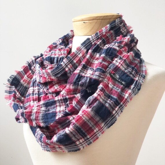 Red, White & Blue Plaid Infinity Scarf, Hand Frayed, Ultra-lightweight, 100% Cotton Gauze, Circle Scarf