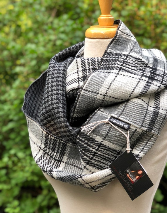 Plaid Infinity Scarf, Dual Sided Black, Winter White, and Gray Plaid Reversible to Black and Gray Houndstooth, Circle Scarf